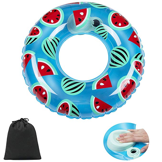 HOMEIDOL Inflatable Swimming Ring, Donut Swim Pool Float with Integrated Built-in Inflator, 31'' Summer Pool Beach Funny Inflatable Toy for Adults and Kids