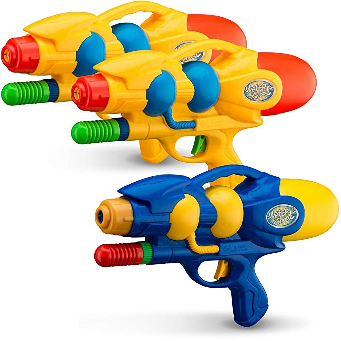 Toy Water Guns 3 Pack | BPA Free Plastic Multicolor Water Pistol Blasters Beach Toy | Swimming Pool | Bath Tub | Backyards | Camping | BBQ - Outdoor | Indoor Assorted