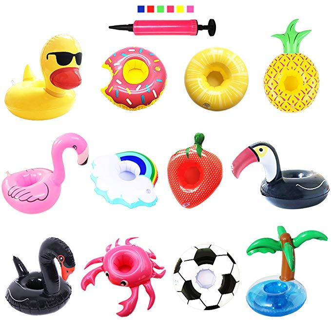 Inflatable Drink Holders, PETUOL 12 Packs Drink Floats for Pool Party and Kids Bath Toys Inflatable Cup Coasters for Bachelorette Party (Toucan Football Duck Strawberry Palm trees Flamingos Swan Lemo)