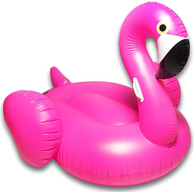 CAPTAIN FLOATY Giant Inflatable Flamingo Pool Float, Swim Raft Floatie Lounger - Over 6' Huge