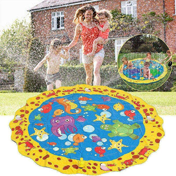 SUMDY Splash Play Mat, Sprinkle Play Mat,40 inch Diameter Water Outdoor Mats for Hot Summer Swimming Party Beach Pool Play Sprinkler Pad
