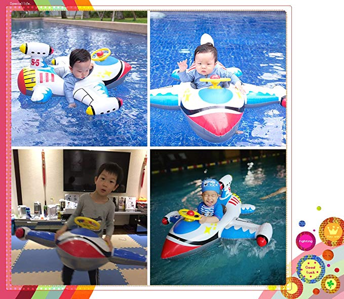 Topwon Inflatable Airplane Baby Kids Toddler Infant Swimming Float Seat Boat Pool Ring Age 1-4 (White)