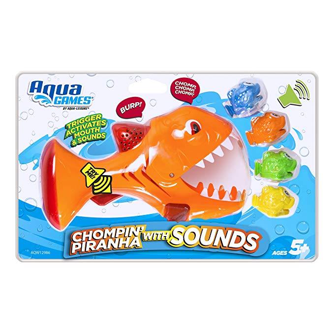 Aqua AQW12986 Chomp N Piranha N Pool and Bathtub Toy Blast Sounds, Catch Game