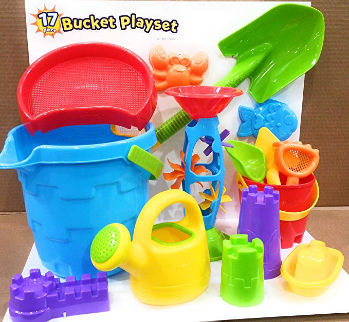 Made For Fun Sand & Water Bucket Playset with Large Shovel 17pcs