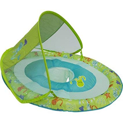 SwimWays Baby Spring Float Sun Canopy (Green Print)