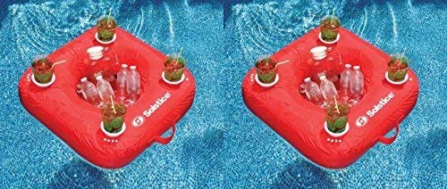 2) Solstice 15050R SunSoft Swimming Pool Inflatable Floating Drink Caddy Coolers