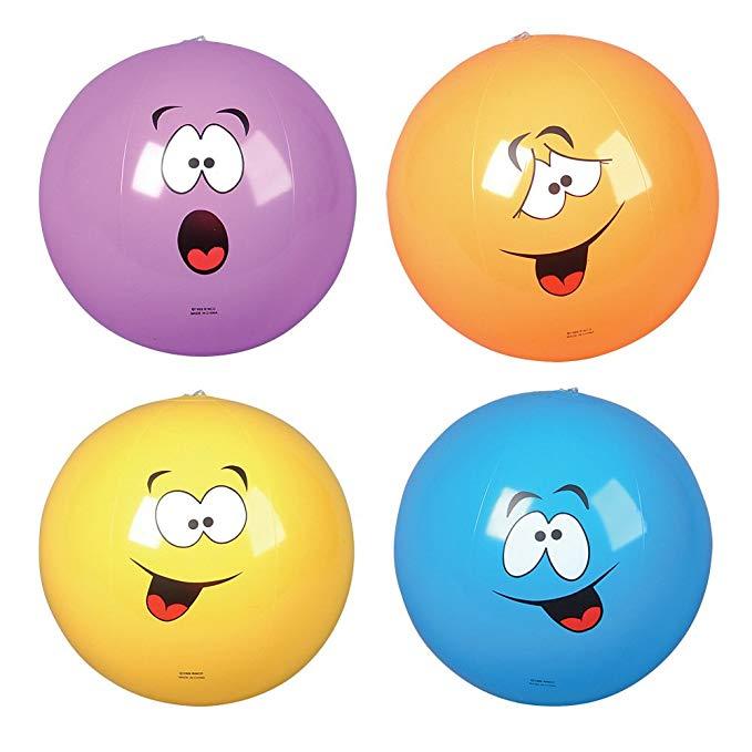 Inflatable Silly Face Beach Balls (1 dz)