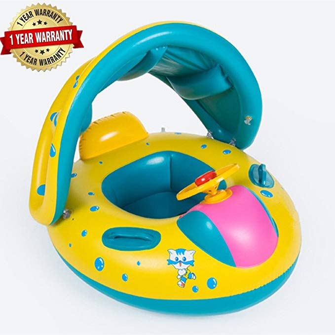 Baby Kids Inflatable Swim Boat Float Water Seat with Sunshade Canopy Horn Swim School Aid Fun Trainer