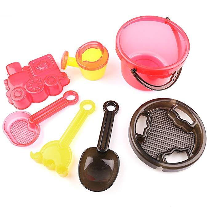 LotFancy Beach Sand Toys Set, Bucket with Sand Sifter Cover, Shovel, Car Mold, Rake, Water Pail and Sifter Shovel, BPA Free
