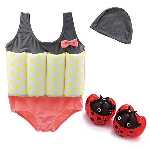 Girls 3 Pcs Swimwears Floating Swimsuit Flotation Suit & Armbands & Swimming Cap
