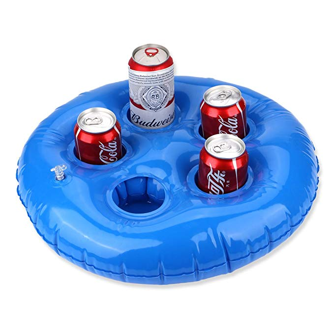 Feebria Inflatable Blue Drink Holders for Pool, Hot Tub, Ocean & River, Cupholder Floaties to Float Your Beverages for Parties & Beach (Without Pump)