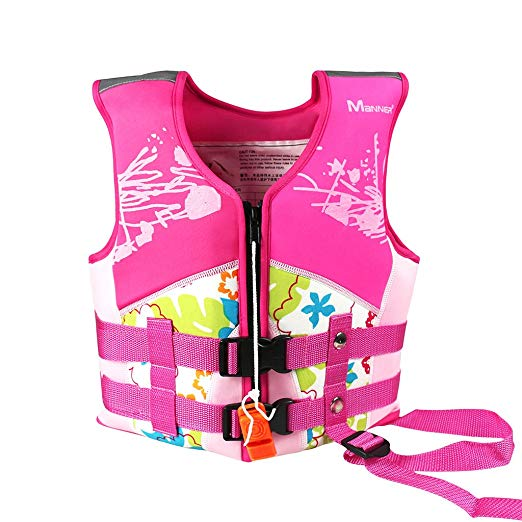 Kids Swim Vest, Swim Jacket, Neoprene Floatation Vest, Girls, Pink, L/7-10 Years