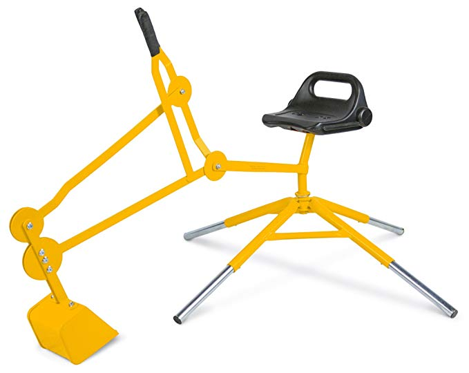 Childrensneeds.com Digger Toy with Telescoping Adjustable Legs That Raise Seat Height and Stabilize Backhoe for Digging (Yellow)