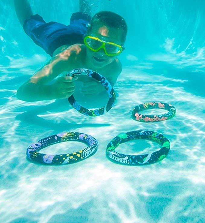 Set of 4 Aqua Fun Active Xtreme Multi-Colored Swimming Pool Dive Rings 7.5