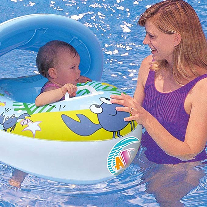 Sinwo Inflatable Mother Baby Soft Swim Float Raft Kid's Chair Seat Swim Ring Pool Toy
