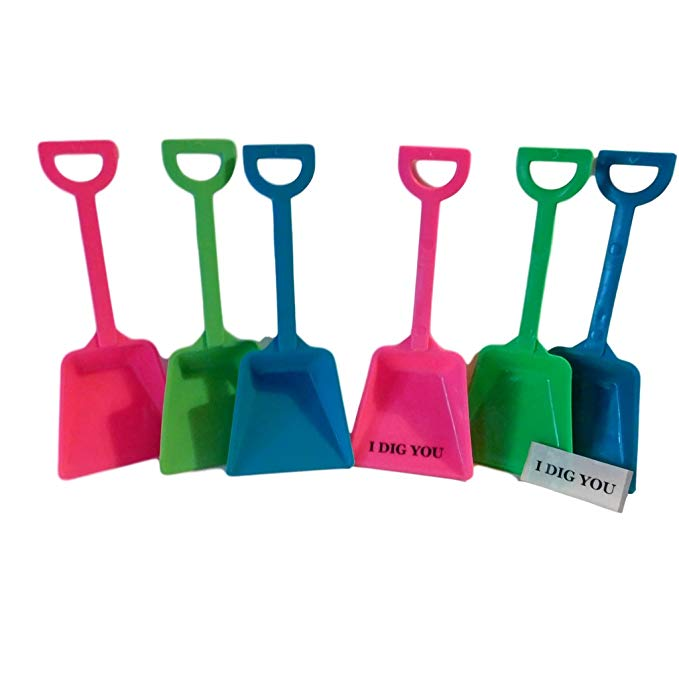 Small Toy Plastic Shovels Mix Pink Lime Teal Colors, 24 Pack, 7 Inches Tall, 24 I Dig You Stickers