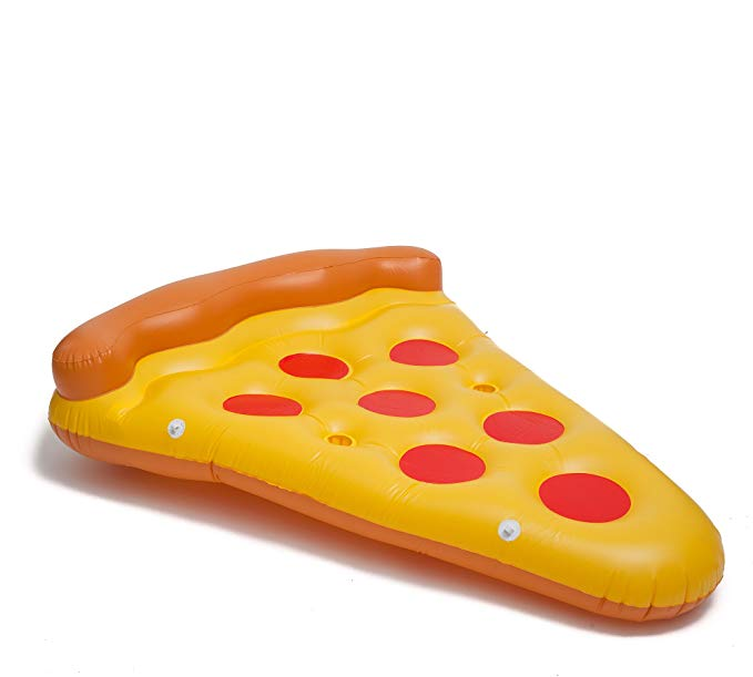 Premium BiggerKids Inflatable Giant Pepperoni Pizza Slice Pool Raft Toy - Pepperoni Pizza Float - Pepperoni Pizza Floaty - Pepperoni Pizza Floatie - 6 Foot