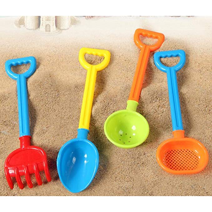 Dongcrystal Beach Toys - 4Pcs Sand Play Set For Kids with Shovels (Colors May Vary)