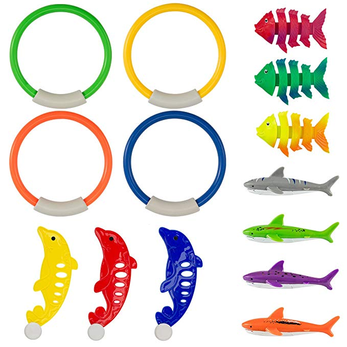 PAMASE Swimming Diving Toys Pool Fun Rings for Kids - Pool Diving Game Toys set in Total 14 Pcs including 4 Diving Rings, 4 Diving Shark Toys, 3 Tropical Fish Toys and 3 Dolphin Toys