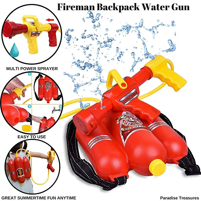 Paradise Treasures Fireman Backpack Water Gun Blaster with 2 Modes to Squirt Water Gun Beach Toy and Outdoor Sports Toy