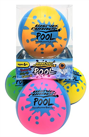 Wave Runner Pool Ball 2-Tone Water Skipping Ball Kids Size Summer Water Bouncing Fun Play on Pool Pond Lakes Gifts Wholesale Bulk Summer Fun Toy (4Pack)